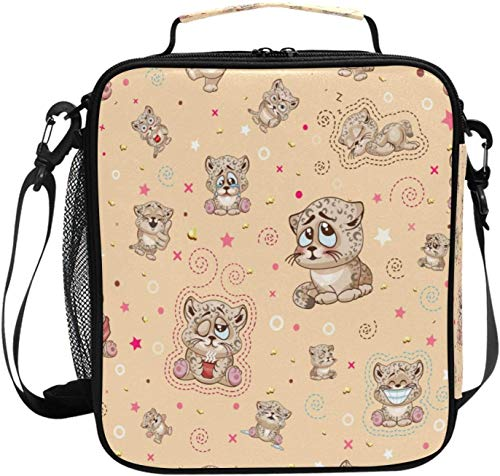 xigua Cute Cartoon Cheetah Insulated Lunch Bag, Leakproof Durable Reusable Lunch Box with Large Drinks Holder, Lunch Tote Bag for Kids Boys Girls Adult Men Women, School & Office Fits