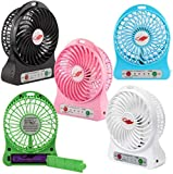 Mini Portable USB Rechargable Fan 5 Inch (Multicolour, Small) with LI-on Battery