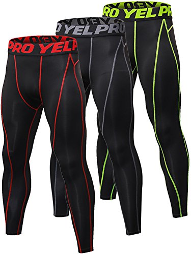 Yuerlian 3 Pack Mens Compression Leggings Cool Dry Sport Pants Running Gym Tights