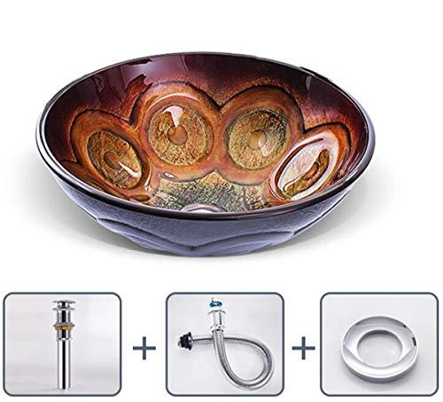 NANXCYR Bad Rotonda Artistico vaas van modern glas, handgemaakt, glazen bak bowl combo met pop-up set