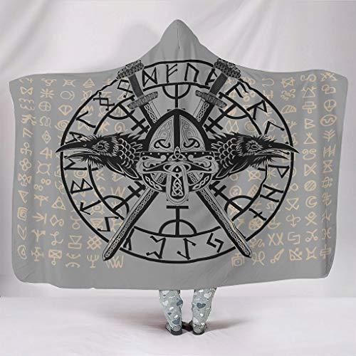 O2ECH-8 Tragbare Decke Riese Decke mit Kapuze Viking Tattoo Gemustert Drucken Couchdecken Prämie Warm Robe mit Kapuze - für Wintergeschenk Verwenden White 150x200cm