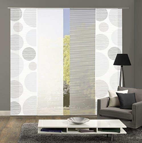 Vision S 94553 | 4er-Set Schiebegardinen Borden | halb-transparenter Stoff in Bambus-Optik | 4X 260x60 cm | Farbe: (grau)