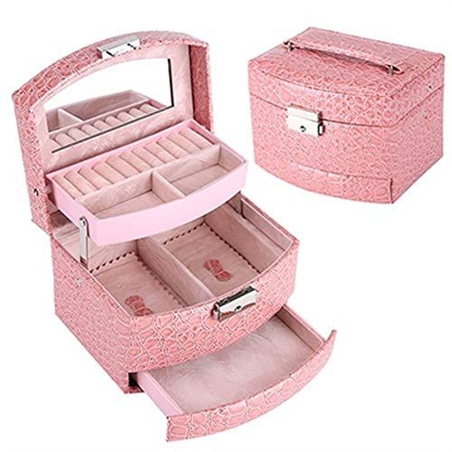 Organizador de maquillaje, caja de joyería automática con cajones, collares, anillos, pendientes con cerradura y espejo de maquillaje, caja de regalo de 3 capas (color rosa
