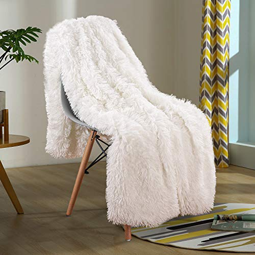 YOH Shaggy Sherpa Reversible Throw Blanket, Fuzzy Longfur Faux Fur Decorative Couch Bed Furry Throws, Super Soft Fluffy Fleece Microfiber Blankets for Outdoor Indoor Camping (60x50 Inches) Ivory White