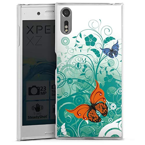 DeinDesign Hard Case kompatibel mit Sony Xperia XZ Schutzhülle transparent Smartphone Backcover Schmetterling Blume