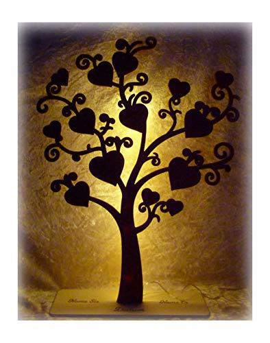 Led Geldgeschenke mit Namen kreativ und originell Geld Holz Geschenk Baum Geldbaum zur Hochzeit individuell personalisiert + Farbauswahl Geburtstag Paar Ehepaar Mann Frau Freundin Freund Tisch Lampe
