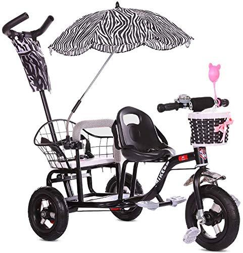Knoijijuo Kinderdoppel Dreirad Fahrrad, Twin Baby-Spaziergänger Mit Folding Pedal, Sommer-Baby-Kinderwagen-Doppelsitz Buggy Für Kinder Alter 1-6 Jahre Alt,Schwarz