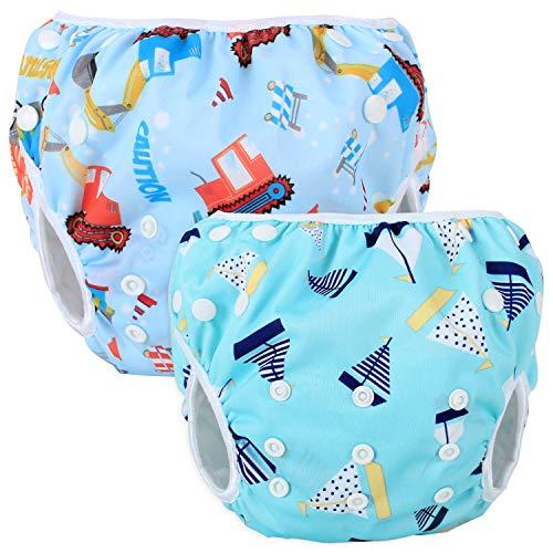 Teamoy Schwimmwindel Baby, Schwimmhose Baby Wiederverwendbar, Baby Badehose Jungen, Baby Badeanzug Mädchen (Tool Car + Blue Sailboat)