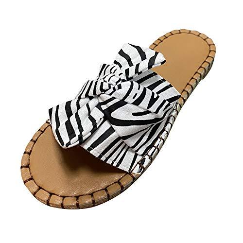Xmiral Damenschuhe Flacher Boden Zebra Einfarbiges Muster Atmungsaktiver Weicher Boden rutschfeste Hausschuhe(39,Schwarz)