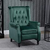 Pushback Recliner Chair Velvet Reclining Sofa Chair, Buttoned Reclining Armchair Padded Gaming TV Recliner Armchair Mid-Century Accent Wingback Fireside Recliner for Living Room Bedroom, Green
