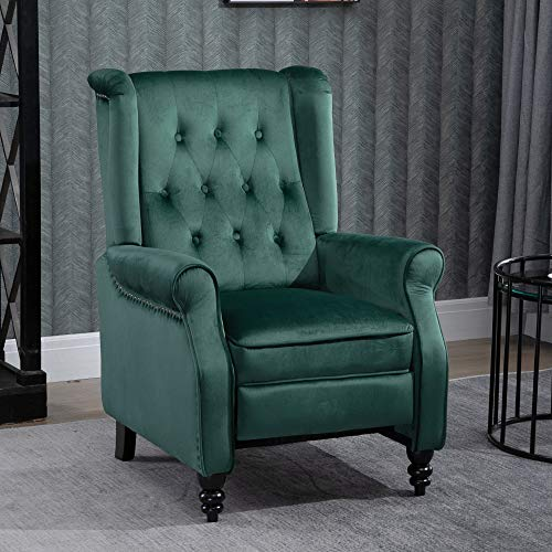 4HOMART Velvet Recliner Armchair Adjustable Wing Back Recliner Occasional Back Button Nailhead Armchair Padded Side Large Chair for Lounge Living Room Bedroom Cinema Gaming Fireside Reclining Chair