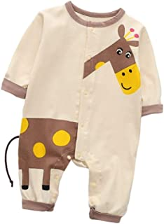 Fairy-Baby Baby Kids One-Piece Bodysuit Long Sleeve Cotton Playwear with Cute Catoon Giraffe Printing Pattern Toddler Casual Homewear (Color : Yellow, Size : 73CM)