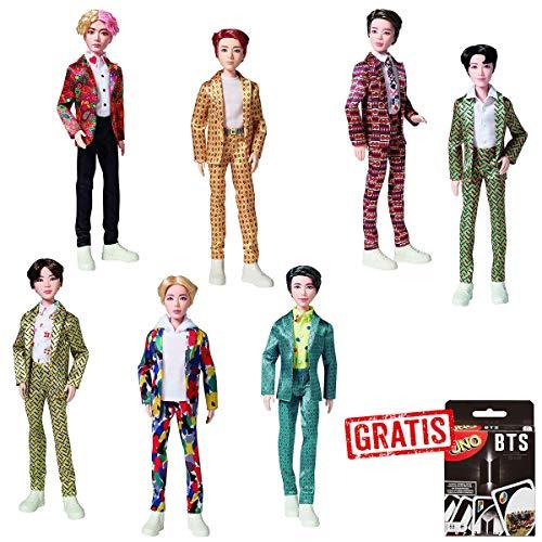 SPAR-SET 178558 - BTS - Bangtan Boys Puppen - Boyband-Set mit Allen 7 Mitgliedern + BTS UNO