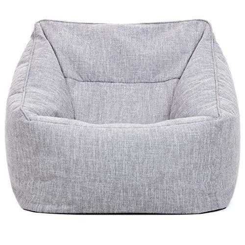 """Icon Sitzsack-Sessel """"Oslo"""", Sitzsäcke für das Wohnzimmer, Grau, 85cm x 60cm, Groß, Textile Tissé"""