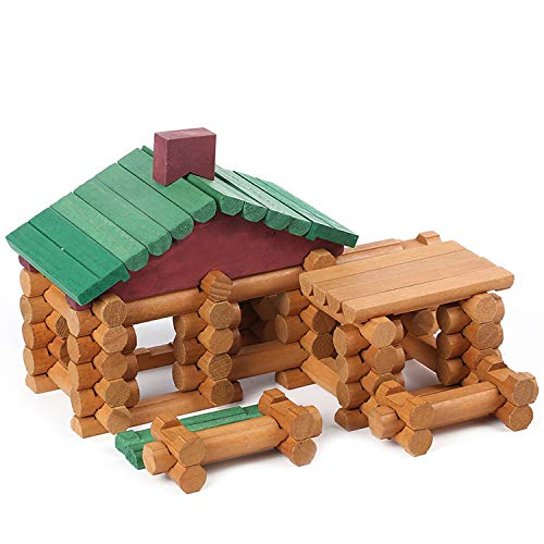Wondertoys 90 Pieces Classic Wood Cabin Logs Set  Building Log Toy for Children  Farm House Construction Educational Toys for 3 4 5 6 Years Old