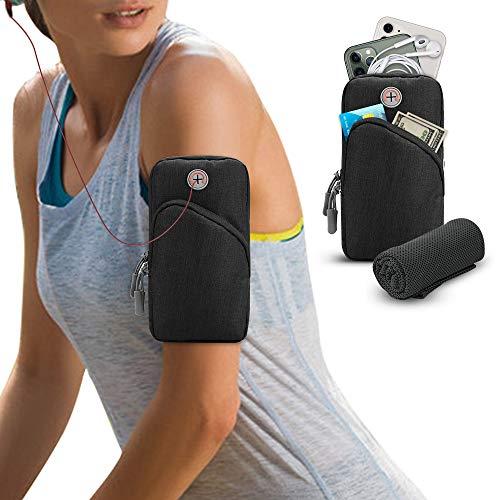 Simpeak Armband Armtasche, Tragbare Sportarmband Tasche wasserdichte Laufen Outdoor Handytasche Kompatibel Bis zu 7,0 Zoll Smartphone für Fitness/Laufen/Outdoor-Sportarten - Schwarz