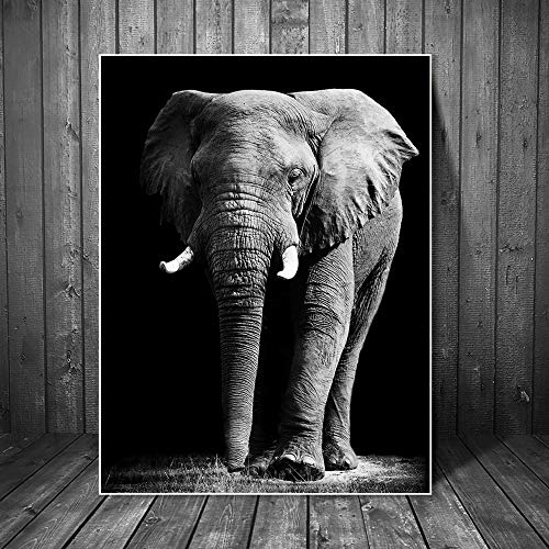KWzEQ Elefante Africano Arte de la Pared Pintura en Lienzo en Blanco y Negro Animal Poster and Printmaking Living Room Mural-Frameless painting50X75cm