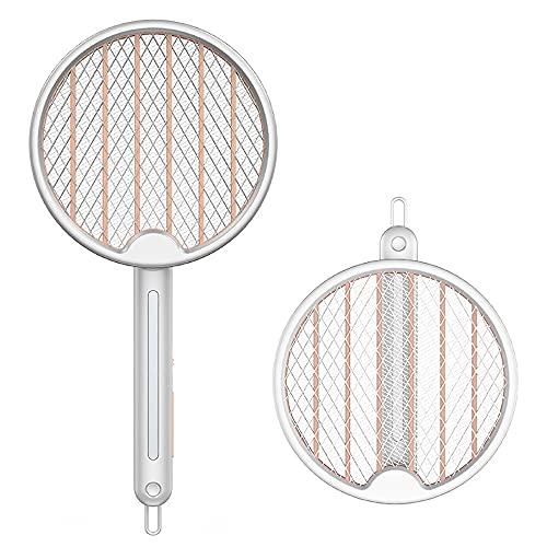 Elektrische Fliegenklatsche ,Fliegenpatschern Klappbare Insektenfalle Fliegenfänger mit 1200mAh Akku USB für Mücken Insekten mit UV/LED Licht 2 Schutzgitter