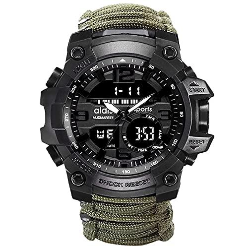 Relojes Militares para Hombres Reloj Digital Militar Impermeable Cronómetro táctico al Aire Libre para Hombres (Verde-1)