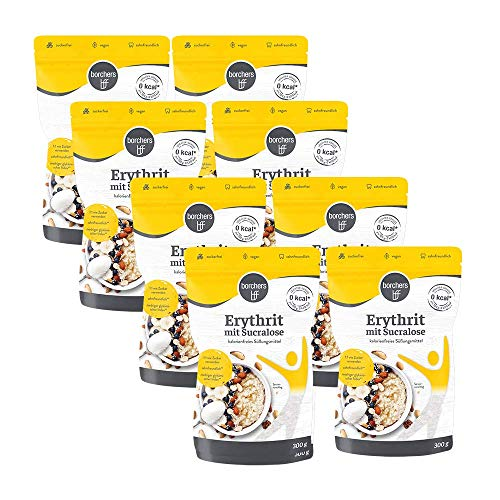 8 x borchers Erythrit mit Sucralose Kristalline Streusüße, Zuckeralternative, Süßungsmittel, Kalorienfrei, Laktosefrei 300 g