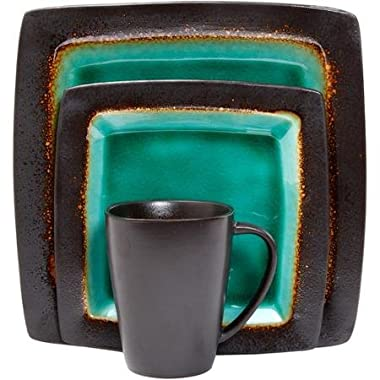 Gibson Everyday Ocean Oasis 16-Piece Dinnerware Set, with Stylish and Colorful, Elegant and Sophisticated Turquoise and Black Color
