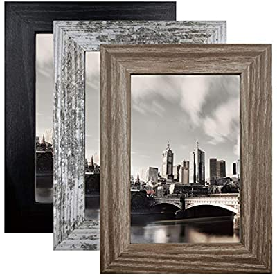 8x10 Picture Frame Distressed Frame for Wall or Tabletop Set of 3, Rustic Photo Frame Decor