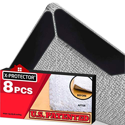 Rug Pads X-PROTECTOR 8 pcs - RUG GRIPPERS Anti Curling - Keeps Your Rug in Place & Makes Corners Flat - Best Black Carpet Gripper with Renewable Carpet Tape – Ideal Non Slip Rug Stopper for Your Rug!!