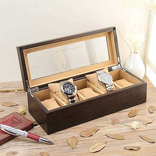 AJH 5 slot klassieke massief hout horloge doos met glazen zonnedak + roestvrij stalen slot + anti-slip sieraden speciale kasjmier