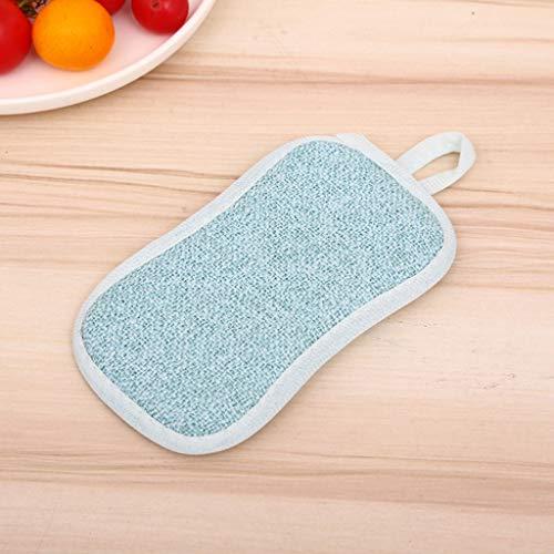 Dubbele spons voor het reinigen van schoonmaakspons, dubbelzijdig keramische spons, antibacterieel, microvezelspons, 2 stuks, voor keuken, vaatwasser, schoonmaakspons (willekeurige kleur)