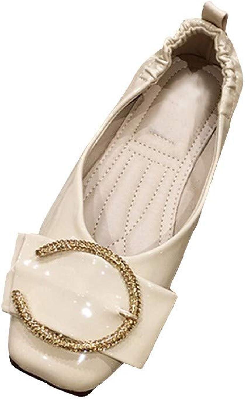 New Square Head Strass Metall Schnalle Einzelne Schuhe (Farbe   Aprikose, Größe   39)