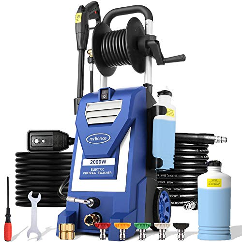 mrliance 3800PSI Electric Pressure Washer 2000W 3GPM Power Washer Car Washer with Hose Reel, 5 Adjustable Nozzles, Soap Bottle (Blue)