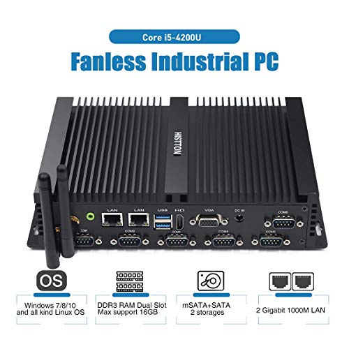 HISTTON Lüfterloser Mini PC Industrie PC Intel Core i5 4200U 4GB RAM 64GB SSD 6 RS232 COM USB 3.0, VGA und HDMI Dual Ausgang, 2 LAN Mini PC Windows 10 Pro/Linux Ubuntu