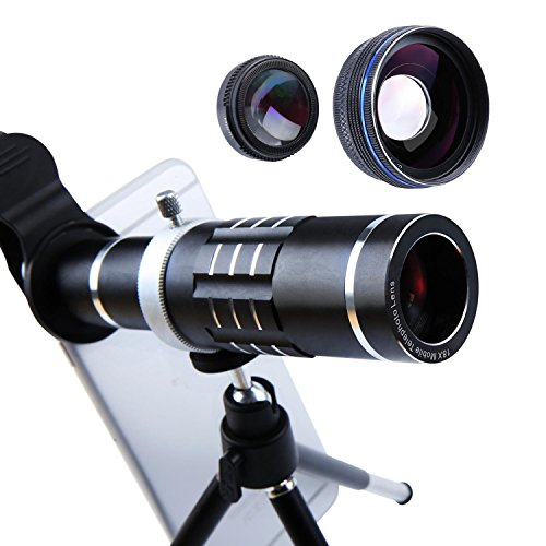 Cell Phone Lens 18X Telephoto Lens Super Wide Angle Lens Macro Lens 3 in 1 Phone Camera Lens Kit with Universal Clip and Mini Flexible Tripod for iPhone Samsung and Most Smartphones (Black)