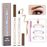 Microblading Eyebrow Pen, Micro-Fork Tip Eyebrow Pencil Four Point Eyebrow Tattoo Pen Waterproof Smudgeproof Brow Pencil Brown