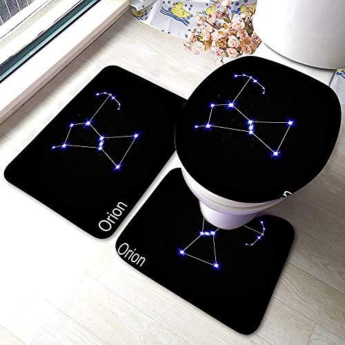 Moily Fayshow Alfombrilla de baño Conjunto de 3 Piezas Constelación de Orión con Hermosas Estrellas Brillantes en el Cielo cósmico
