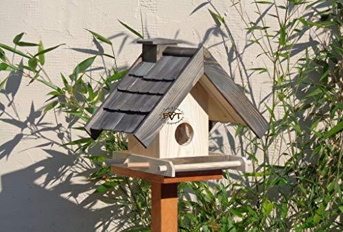 Vogelhaus + XXL-FUTTERSILO,mit Ständer,K-VOWA3-MS-at001 NEU PREMIUM-Qualität,Vogelhaus,mit Ständer KLASSIK-PREMIUM-Qualität,Vogelhaus,1,5 L Silo+ SICHTSCHEIBE RUND / GLAS, FUTTERVORRAT-SILO – VOGELFUTTERHAUS , Qualität Schreinerware 100% Massivholz – VOGELFUTTERHAUS MIT FUTTERSCHACHT-Futtersilo Futterstation Farbe schwarz lasiert, anthrazit / Holz natur, Ausführung Naturholz MIT TIEFEM WETTERSCHUTZ-DACH für trockenes Futter, mit Futterschacht zum Nachfüllen oben - 4