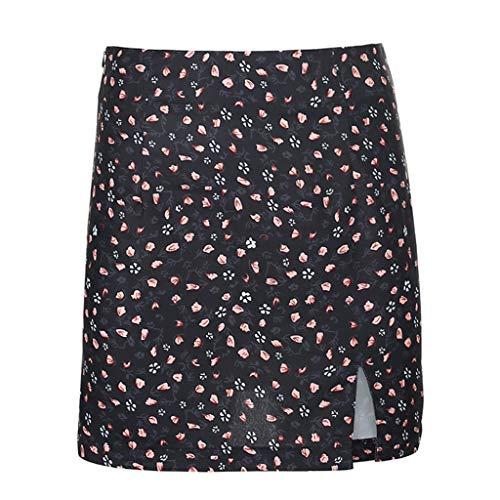 LXDWJ Falda de Verano con Estampado Floral Falda de Cintura Alta con Abertura Lateral de Moda Dulce Falda de Cintura Alta Nueva para Mujer (Color : A, Size : Large)