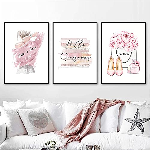 ZYQYQ Cuadros Decoración Salon Lienzo Mural Impresión de labios abstractos Belleza Mujer Póster Rosa Perfume de tacón alto Pintura Imágenes de moda de dormitorio 40x60cmx3 Sin marco