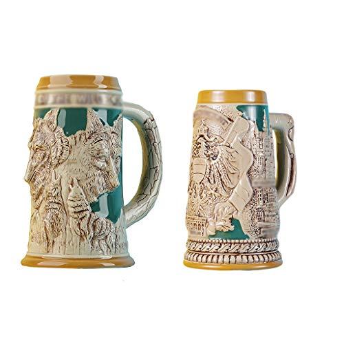 Bicchieri Boccale da Birra retrò Sguardo Tazze da Bere Creative Tazze Elegante Tazza da caffè con Manico in Ceramica per Birra Bevanda Tazza Bicchiere Birra (Color : Beige1+Beige2)