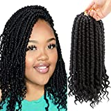 8 Packs Spring Senegalese Twist Crochet Braids Curl End Crochet Hair for Black Women Pre loop 12 Inch Bomb Twist Synthetic Fluffy Spring Twist Crotchet Hair 1B
