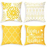 Chrruaz Throw Pillow Covers 18x18 Set of 4, Modern Geometric Pillow Cushion Cases, Outdoor Square Yellow Decorative Pillow Covers for Couch Bedroom Sofa Car Living Room