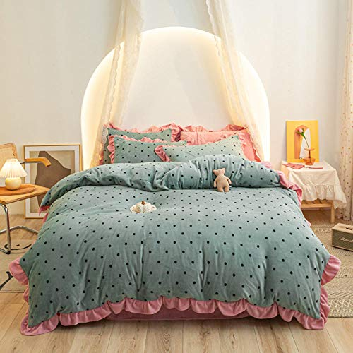 Bedding Set,2020 new milk velvet lace four-piece set, thick and warm winter princess style flannel bedding-Polka dot green_KING