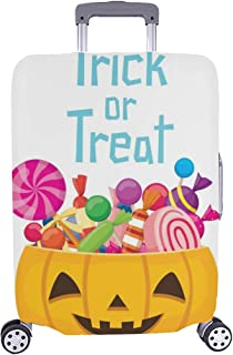 Halloween Pumpkin Bucket Candy Mystery Culture Spandex Trolley Case Travel Luggage Protector Suitcase Cover 28.5 X 20.5 Inch