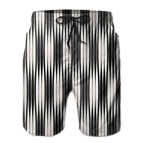 Badeshorts Lustig Bedruckt,Geometric Trippy Lines Minimalist Urban Contemporary Style Geometric Art Deco, Quick Dry Beach Board Trunks mit Mesh-Futter