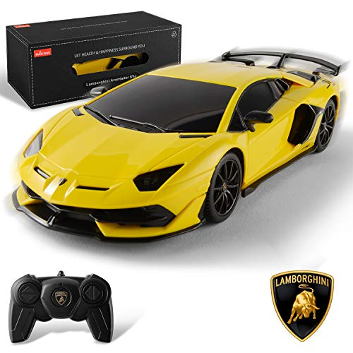 BEZGAR X RASTAR Licensed RC Series, 1:24 Scale Diecast Remote Control Car Lamborghini Aventador SVJ Electric Sport Racing Hobby Toy Car Model Vehicle for Boys and Girls Teens and Adults Gift (Yellow)