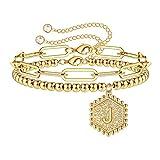 Layering Gold Initial Bracelets for Teen Girls, 14K Gold Plated Bead Bracelet Letter J Paperclip Link Kids Bracelet for Girls Initial Jewelry Gold Bracelets for Women Teen Girls Dainty Initial Jewelry