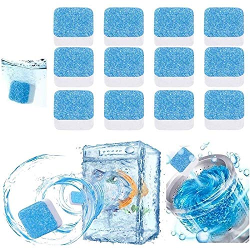 12PCS Solid Washing Machine Cleaner Effervescent Tablets Washer Cleaner, Washer Deep Cleaning Tablet, Suitatable for Bath Room Kitchen All Machines