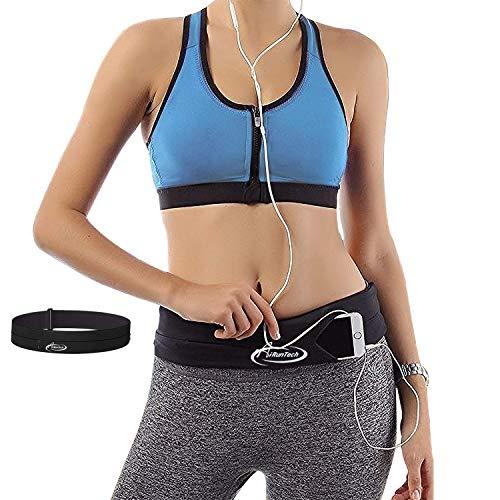 AiRunTech Cinturón de Correr para de Agua Bolsa Deportiva Riñonera Impermeable Running con Bandas Reflectantes Multi-Capa Alta Capacidad para Deportes Gimnasio para Móvil de 6 Pulgadas (Black + Gray)