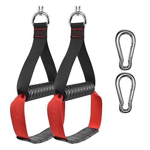 XYZDOUBLE Asas de cable resistentes, asas de resistencia para fitness, diseño ancho con mosquetones duraderos, color rojo para cables cruzados LAT Pull Down Home Gym