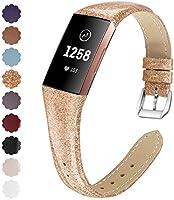 KIMILAR Armbanden compatibel met Fitbit Charge 4 / Charge 3 armband, leer, reserveband, tweekleurig, horlogeband voor...